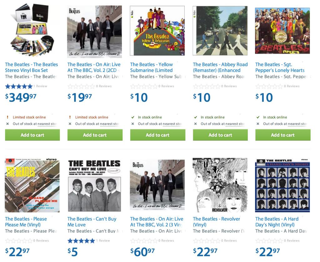 Beatles at Walmart, Walmart.ca