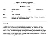 Office of the Privacy Commissioner Memorandum, October 28, 2014