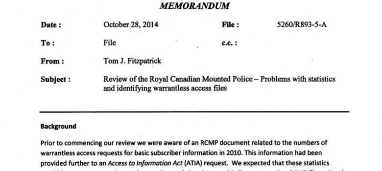Office of the Privacy Commissioner Memorandum, October 28, 2014