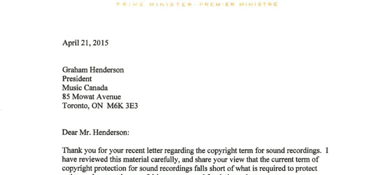 Harper Letter to Music Canada on Budget Day Confirms Copyright Extension the Product of Industry Lobbying