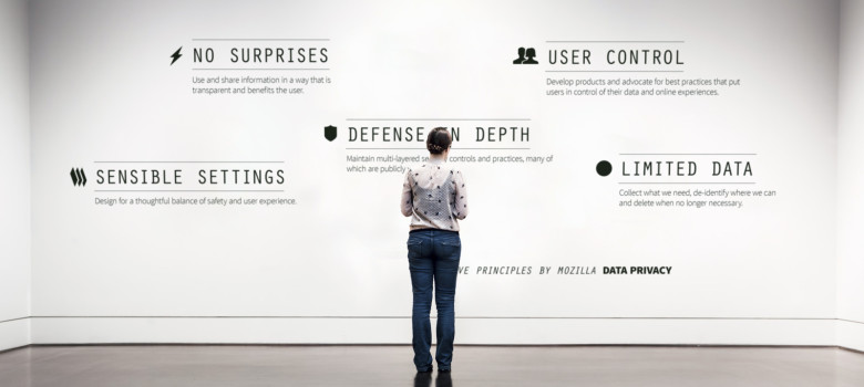 Five Data Privacy Principles from Mozilla (Put on a museum wall) 2014 by Ann Wuyts (CC BY 2.0) https://flic.kr/p/pVKYKn