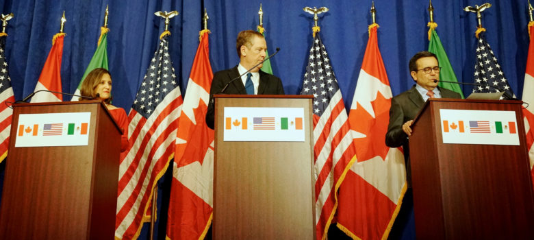 Foreign Minister Freeland, U.S. Trade Representative Lighthizer and Mexican Ministry of Economy Guajardo Participate in the Fourth Round of NAFTA Negotiations by U.S. Department of State, US Government Work, https://flic.kr/p/YtEmWh