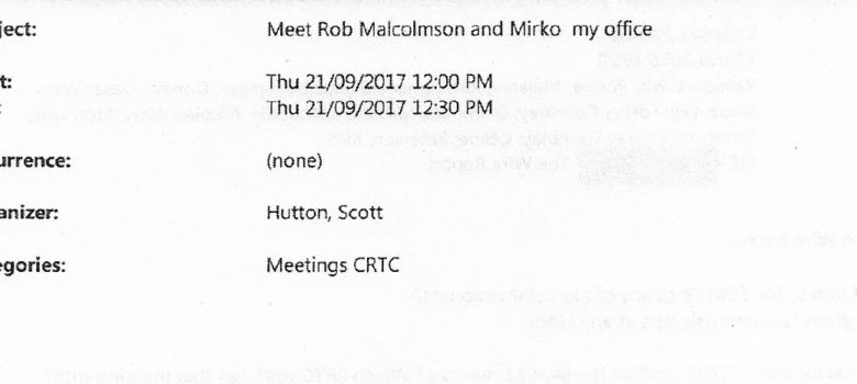 Hutton meeting, obtained under ATIP