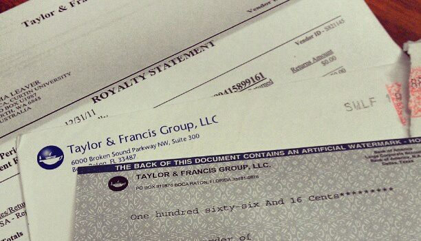 My first ever royalties cheque! by Tama Leaver https://flic.kr/p/bxRoZJ (CC BY 2.0)