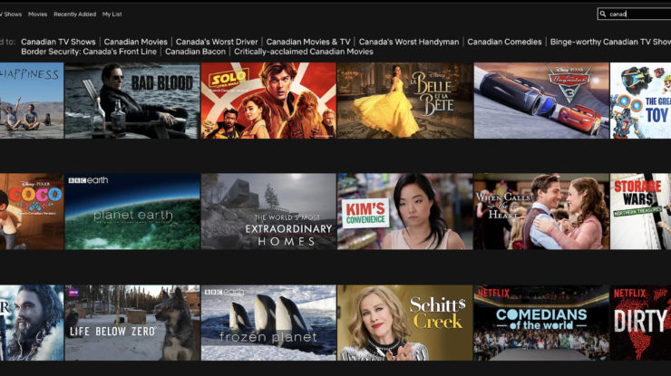 Netflix Canada Search