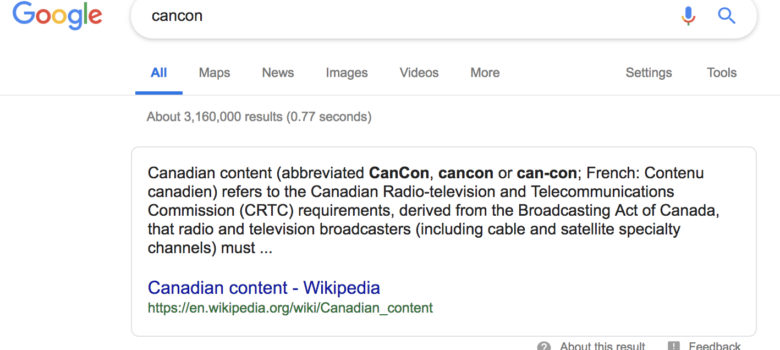 Google Cancon search result screenshot