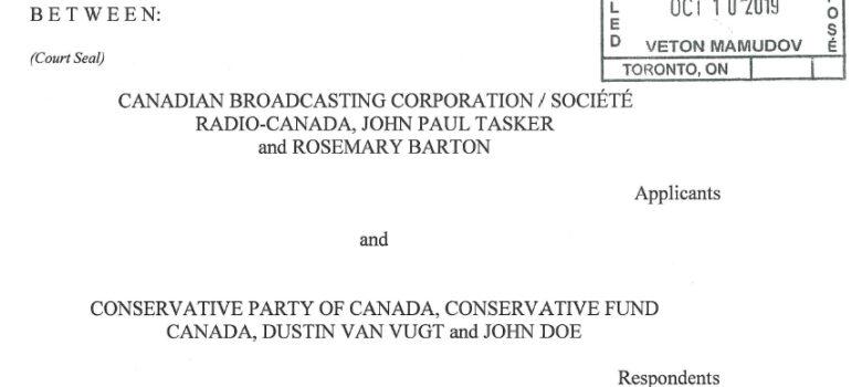 CBC Lawsuit vs. Conservative Party