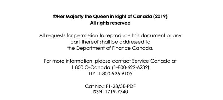 Budget 2019 copyright page, https://budget.gc.ca/2019/docs/plan/budget-2019-en.pdf