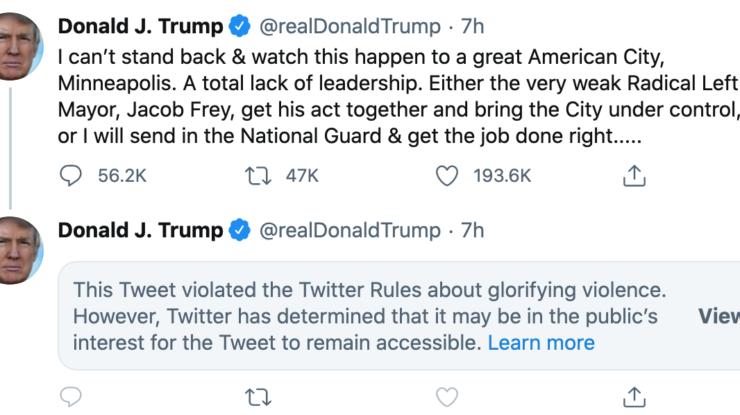 Trump tweet, May 29. 2020 https://twitter.com/realDonaldTrump/status/1266231100780744704?s=20