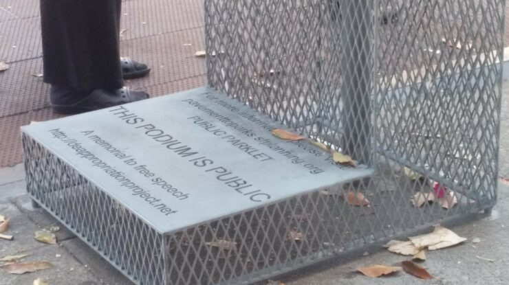 free speech parklet podium by Liz Henry https://flic.kr/p/xJQwLH (CC BY-ND 2.0)