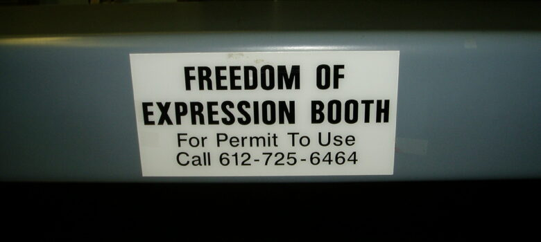 Freedom of Expression Booth by Eric and Mary Ellen (CC BY-SA 2.0) https://flic.kr/p/aBkjLX