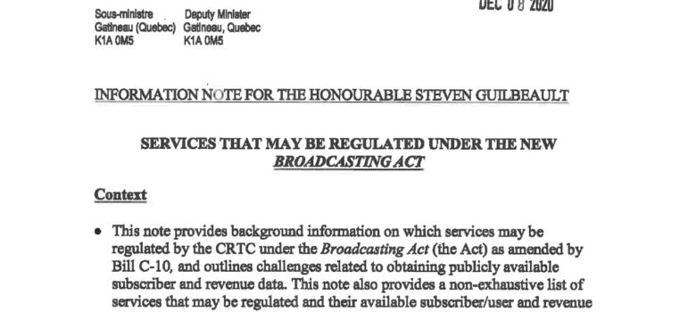 Canadian Heritage Memorandum, December 8, 2020, ATIP A-2020-00498